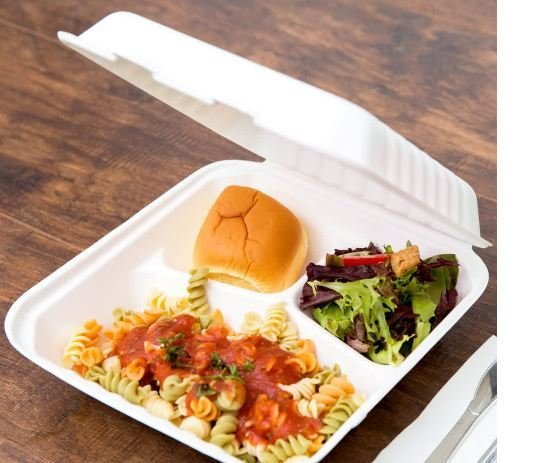 E - Compostable Clamshell Box 3 division (Qty 50)