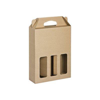 Box Corrugated Bottle Pack 3 - Kraft (each)