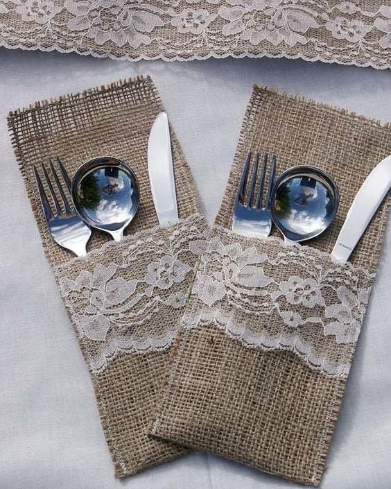 Hessian Lace inlay Cutlery Bag 00074