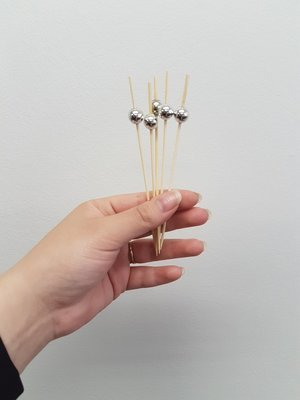 Skewers Wooden Silver Ball (Qty 100)