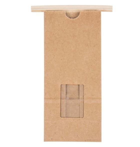 Paper Bag Brown Tin Tie Window - Medium (Qty 50) 00137