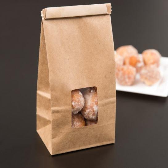 Paper Bag Brown Tin Tie Window - Medium (Qty 50)