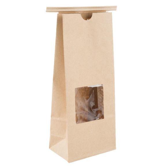 Paper Bag Brown Tin Tie Window - Large (Qty 50) D6601T