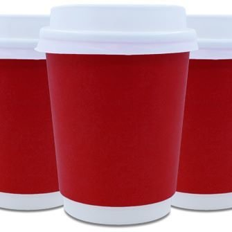 Coffee Cups Double Wall 250ml - Red (Qty 50)
