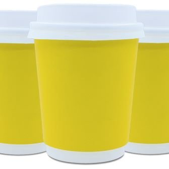 Coffee Cups Double Wall 250ml - Yellow (Qty 50)