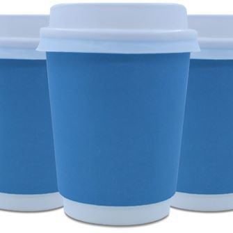Coffee Cups Double Wall 250ml - Blue (Qty 50) 250DWB