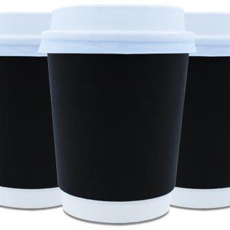 Coffee Cups Double Wall 250ml - Black (Qty 50) 250DWBLK