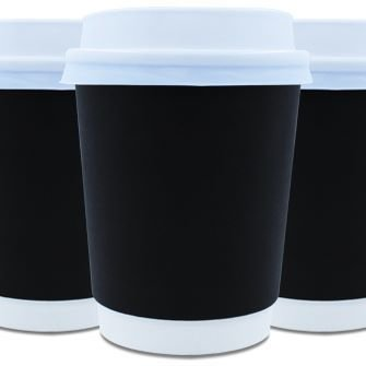 Coffee Cups Double Wall 250ml - Black (Qty 50)