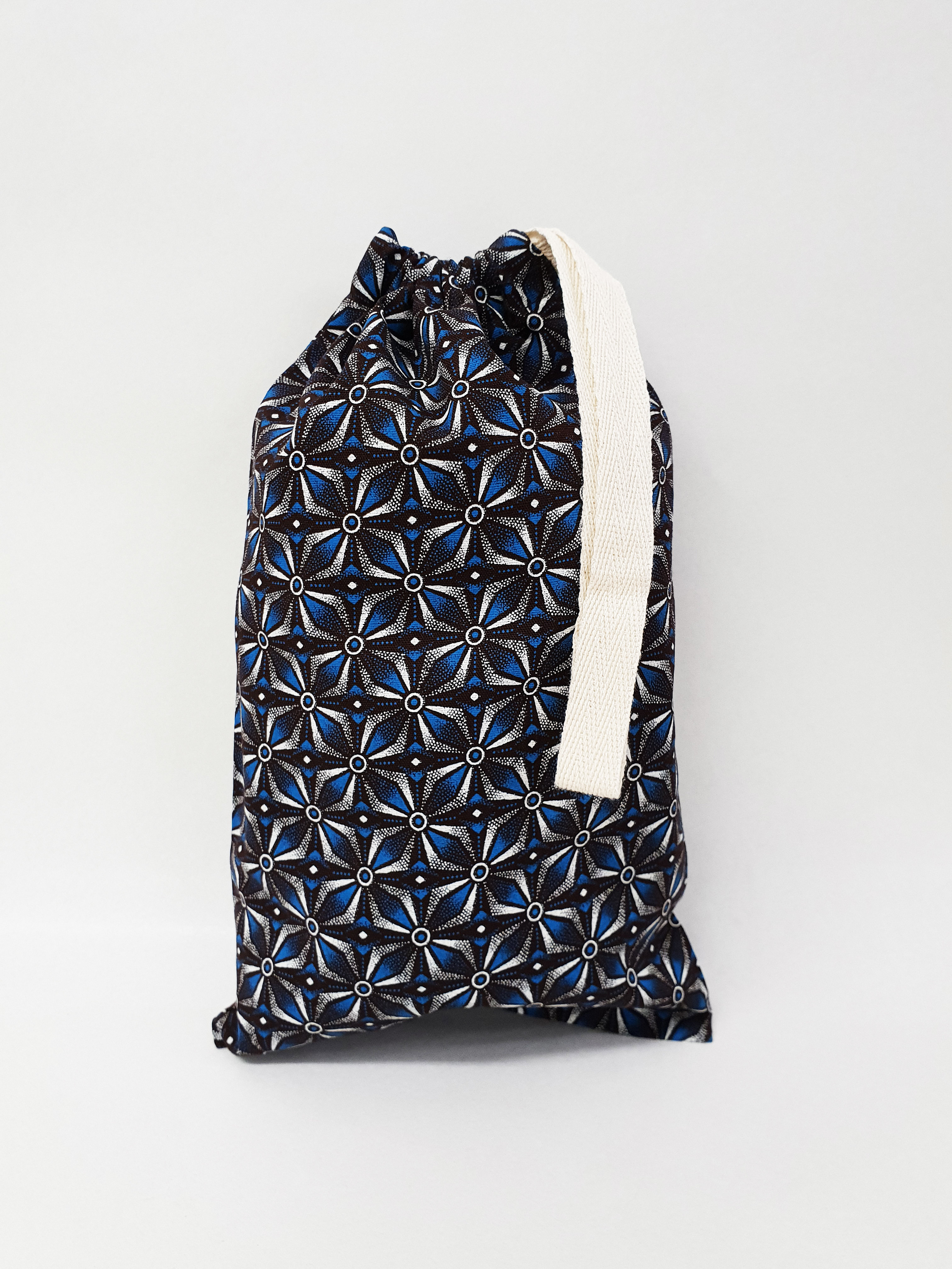 Shweshwe Bag Blue+Brown+White - Small SBSL1