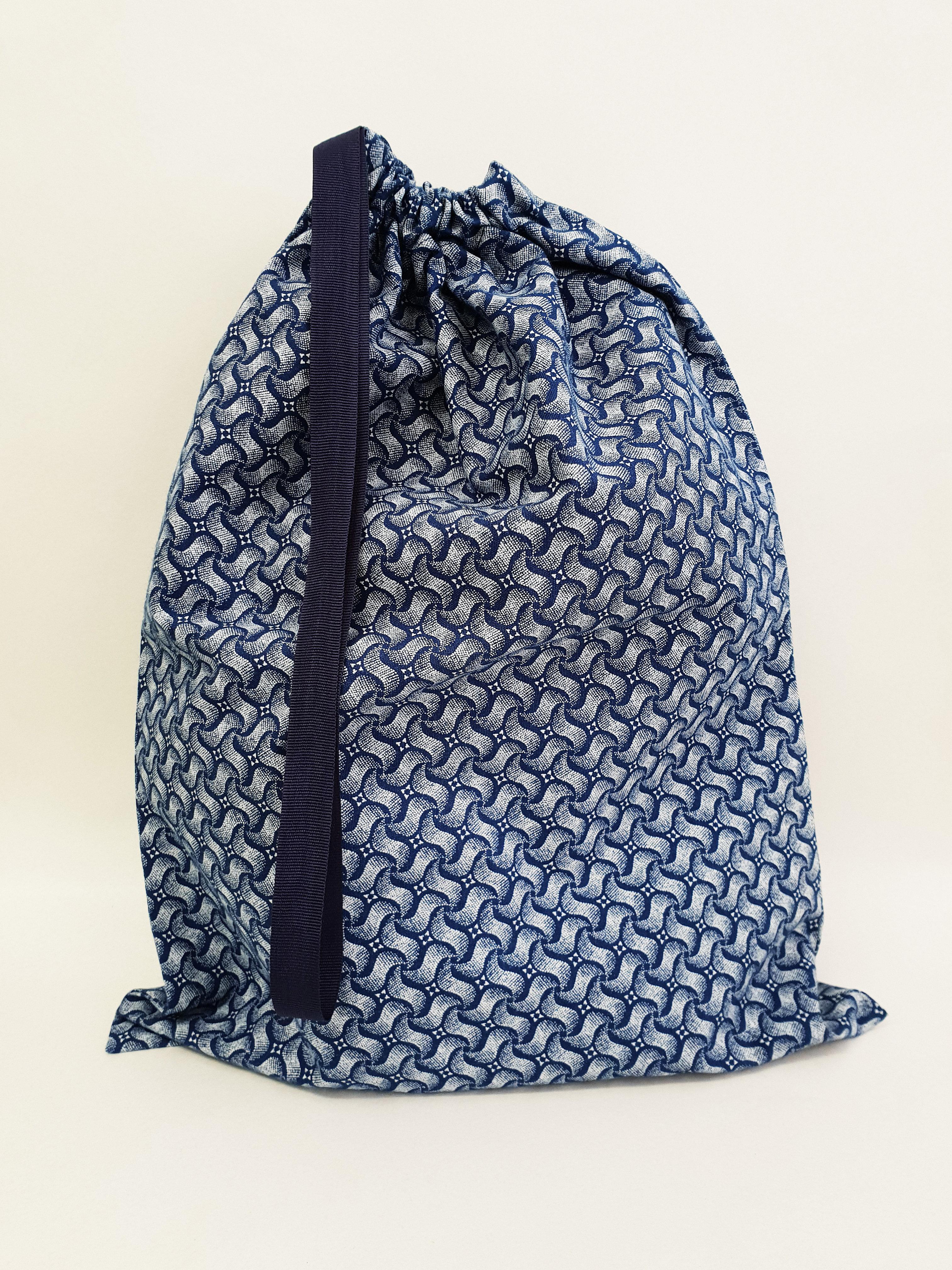 Shweshwe Bag Blue+White - Large SBL2