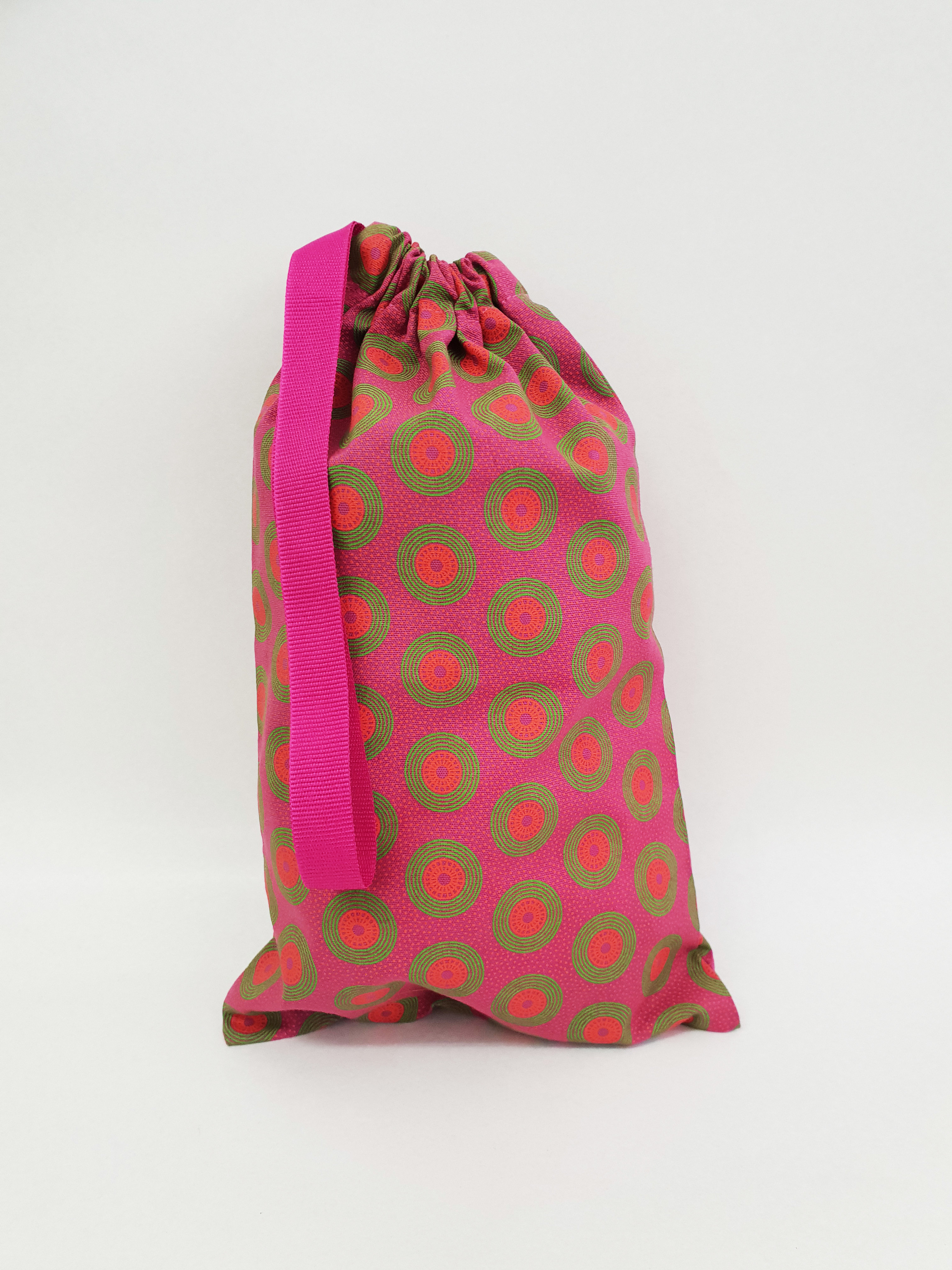 Shweshwe Bag Pink+Green+Orange - Small SBSL4