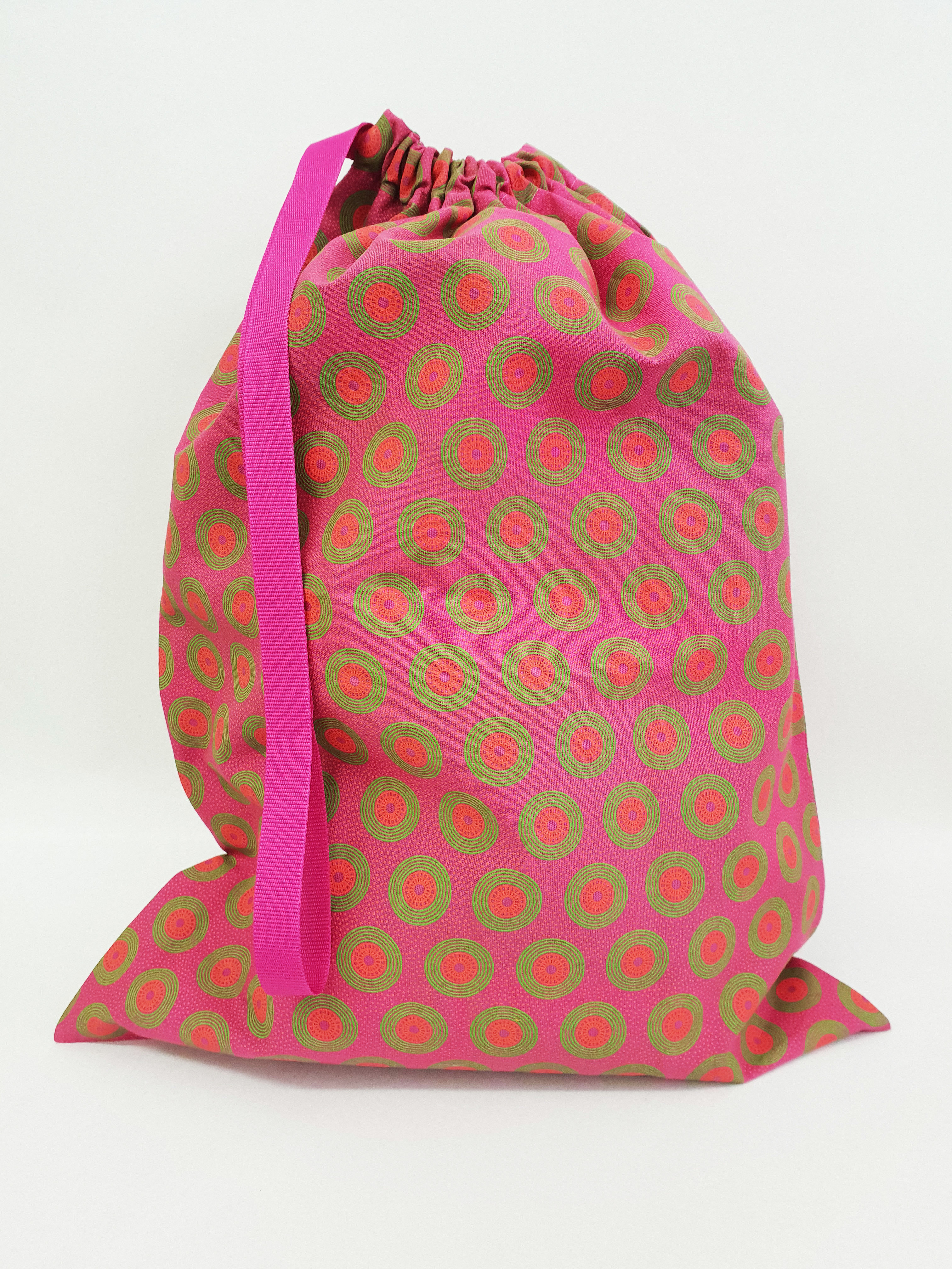 Shweshwe Bag Pink+Green+Orange - Large SBL4