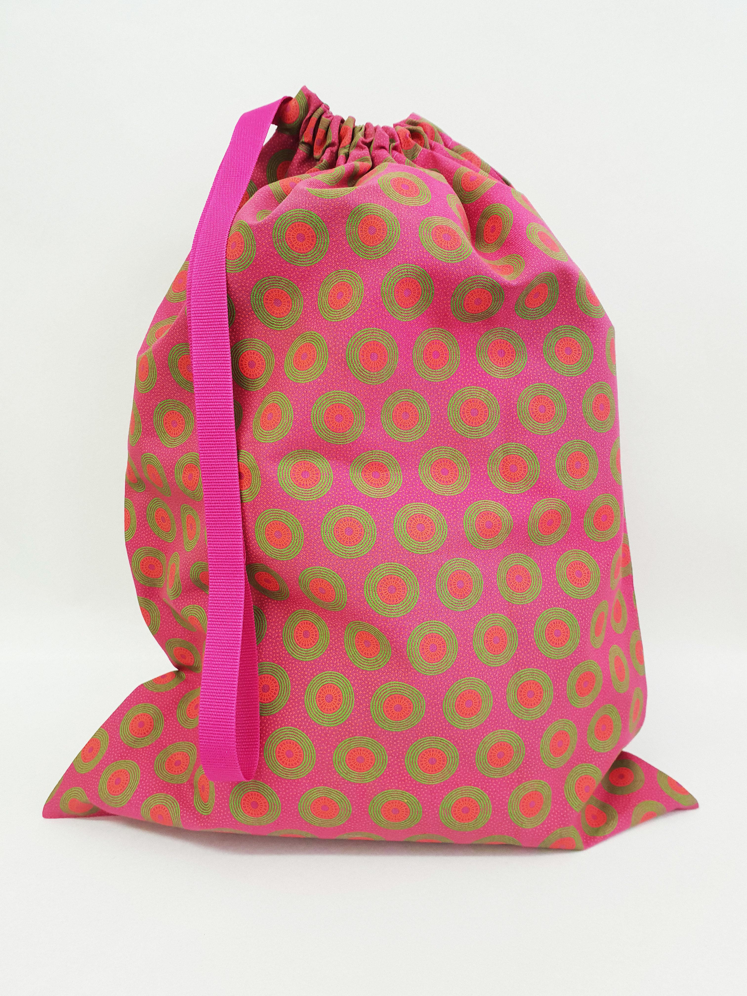 Shweshwe Bag Pink+Green+Orange - Large SBL4