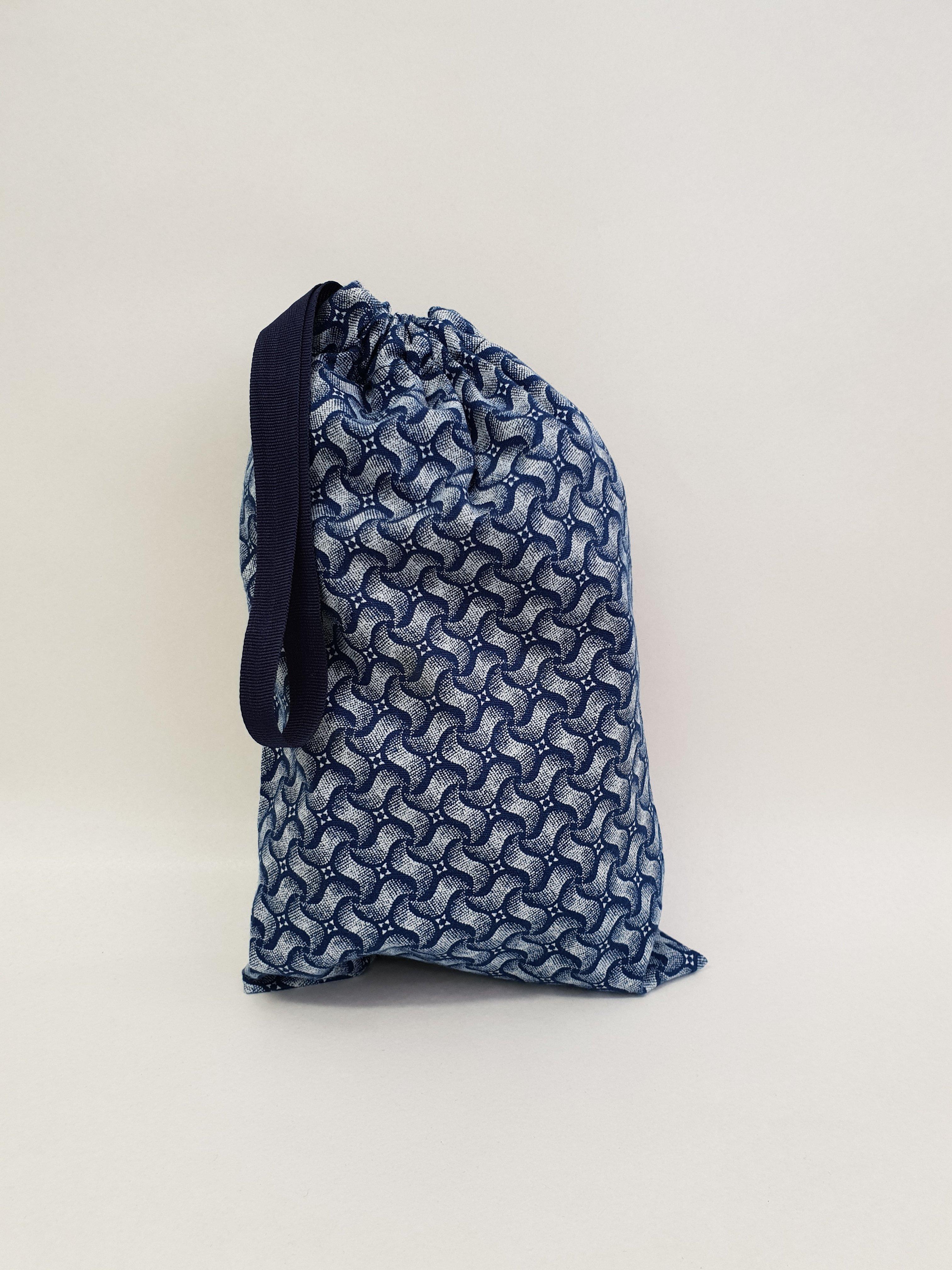 Shweshwe Bag Blue+White - Small SBSL2