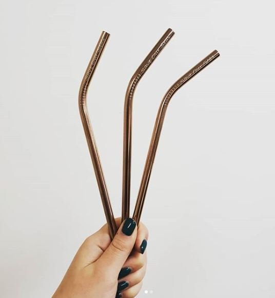 Stainless Steel Straw Bendy + Brush Rose Gold (ea) SSBRG