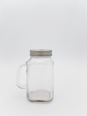 Mini Jar W/Handle - Straw Hole Metal Lid (each)