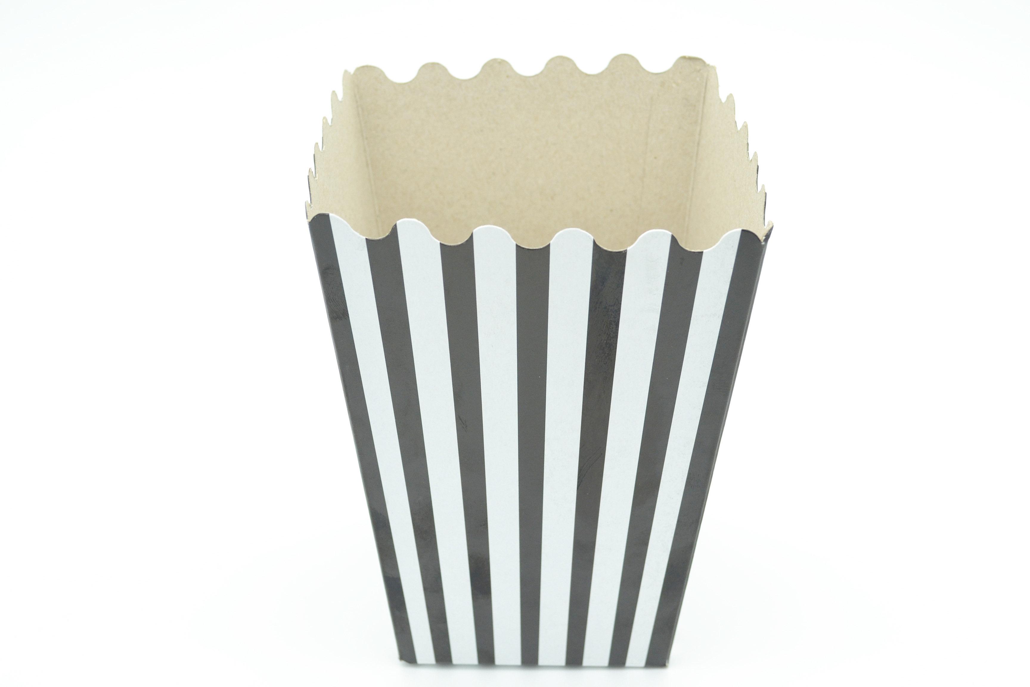 Box Popcorn Black & White Stripe Small (each) POPSB