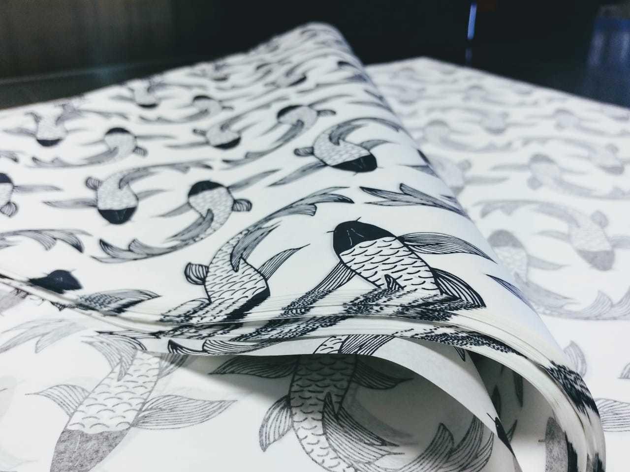 Tissue Paper - Fish - Navy On White (Qty 25) TPFISH