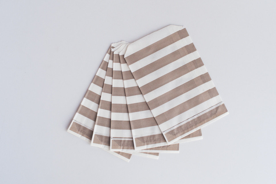 Printed Paper Bag 13x18cm - Grey Stripes (25's) BAG25-22GR