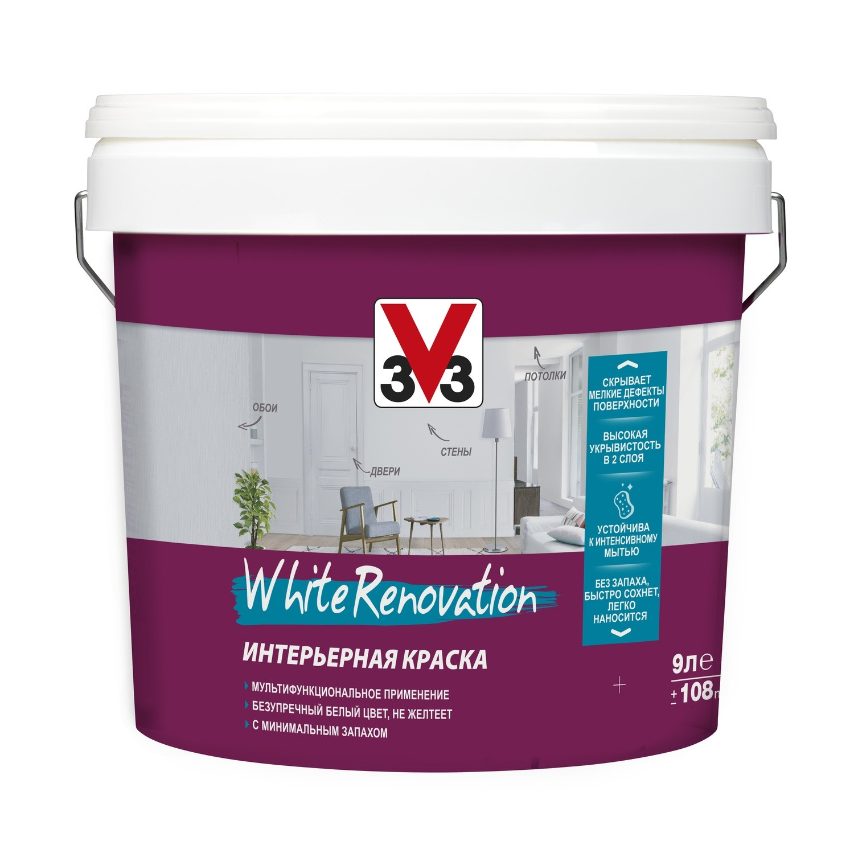 Краска для стен и потолка WHITE RENOVATION глубокоматовая база А 0,9л