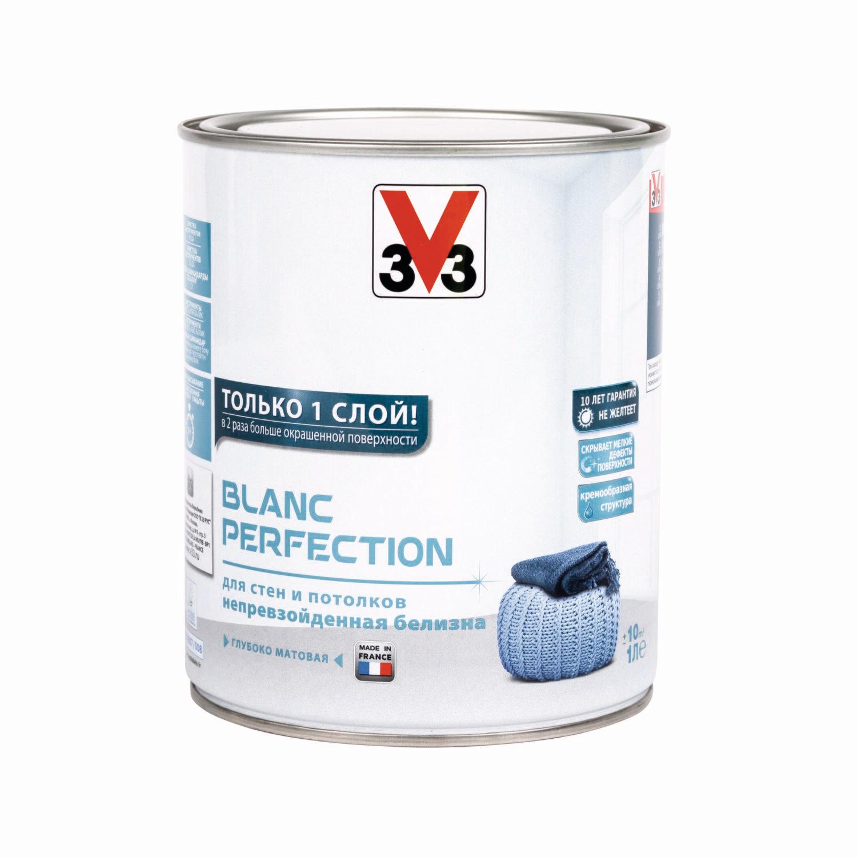 Глубокоматовая латексная краска для стен и потолков V33 BLANC PERFECTION 1 л