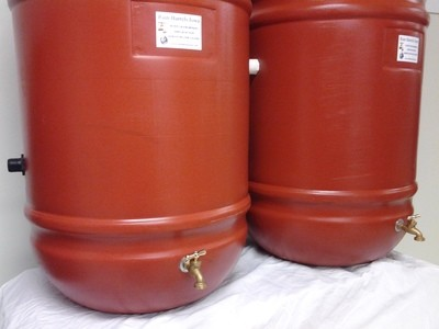 Double Rain Barrel Combo Terra Cotta with internal overflow