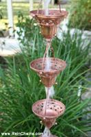 Rain chain - Florence Cups ™ pure copper  #1055