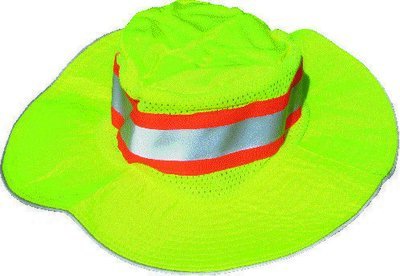 1a0eb7c1e4de1 Hi Viz Lime And Orange Boonie Hats Solid Material With Mesh Sides And  Contrast Tape