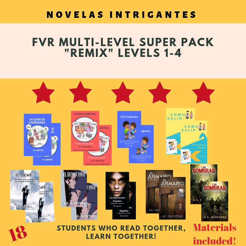 "18 Novels: FVR Spanish Multi-level ""Remix"", Level 1-4+"