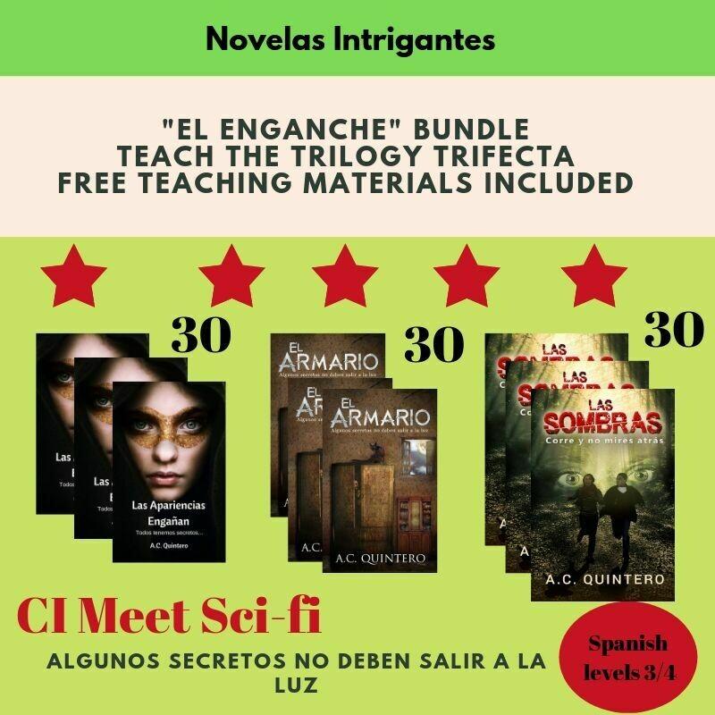 90  Novels: Las apariencias engañan,El armario & Las sombras  (Level 3+) Teaching materials included & Free Shipping