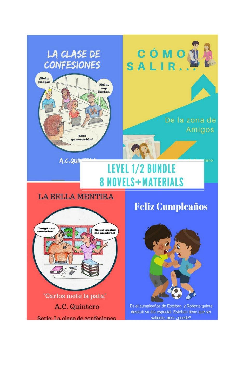 Spanish Levels 1/ 2 8-Novel Bundle+Teaching/FVR/Lit Circles Materials