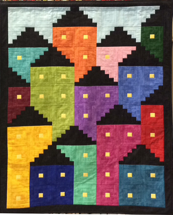 Downtown Row House Quilt Cathedral Window Class