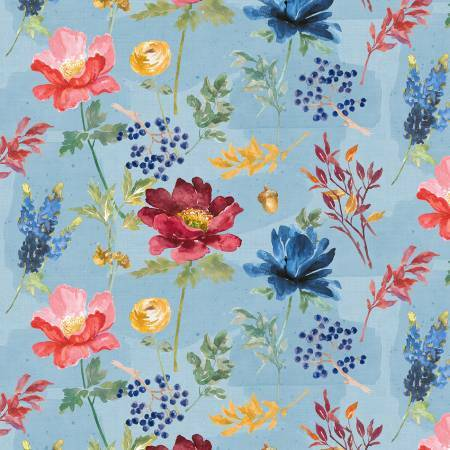Blue Large Floral - Garden Charm by Wilmington Fabrics LPDWY9N3