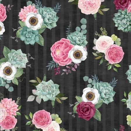 Black Bouquet - Botanical Oasis by Wilmington Fabrics MAMQ2HMJ