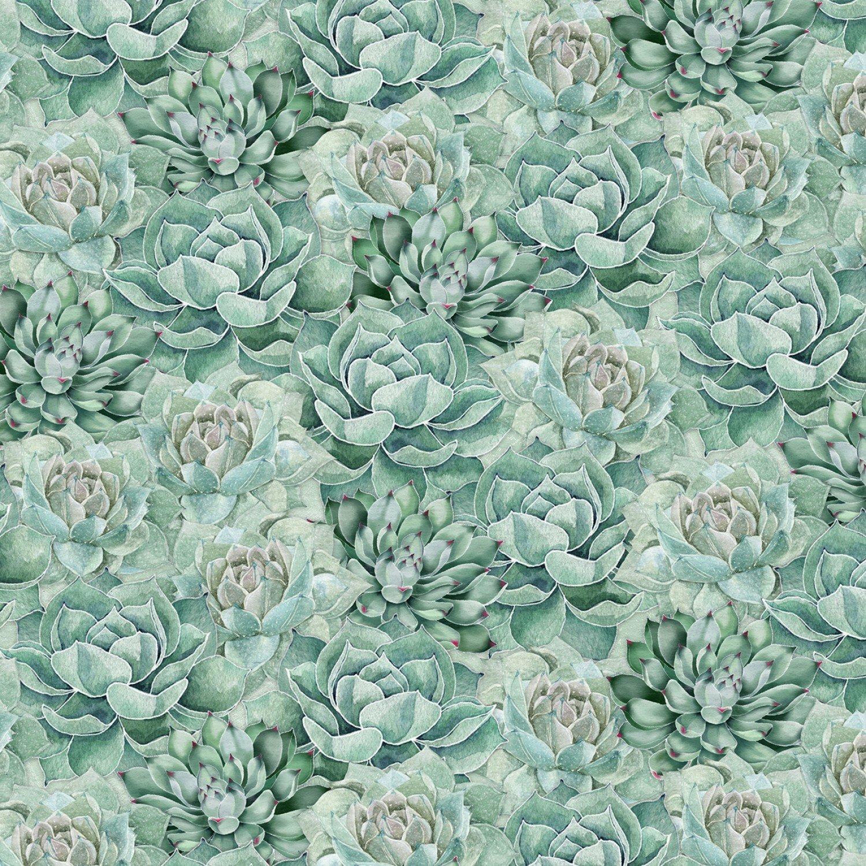 Green Succulents- Botanical Oasis by Wilmington Fabrics L653GX4Q