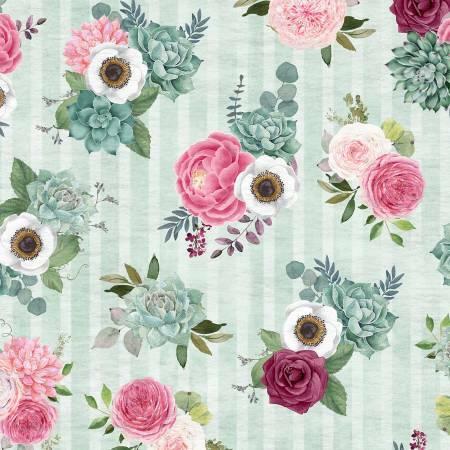 Green Bouquet - Botanical Oasis by Wilmington Fabrics GQQK65J4