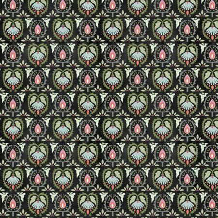 Black Damask - Botanical Oasis by Wilmington Fabrics LWFQWGL1