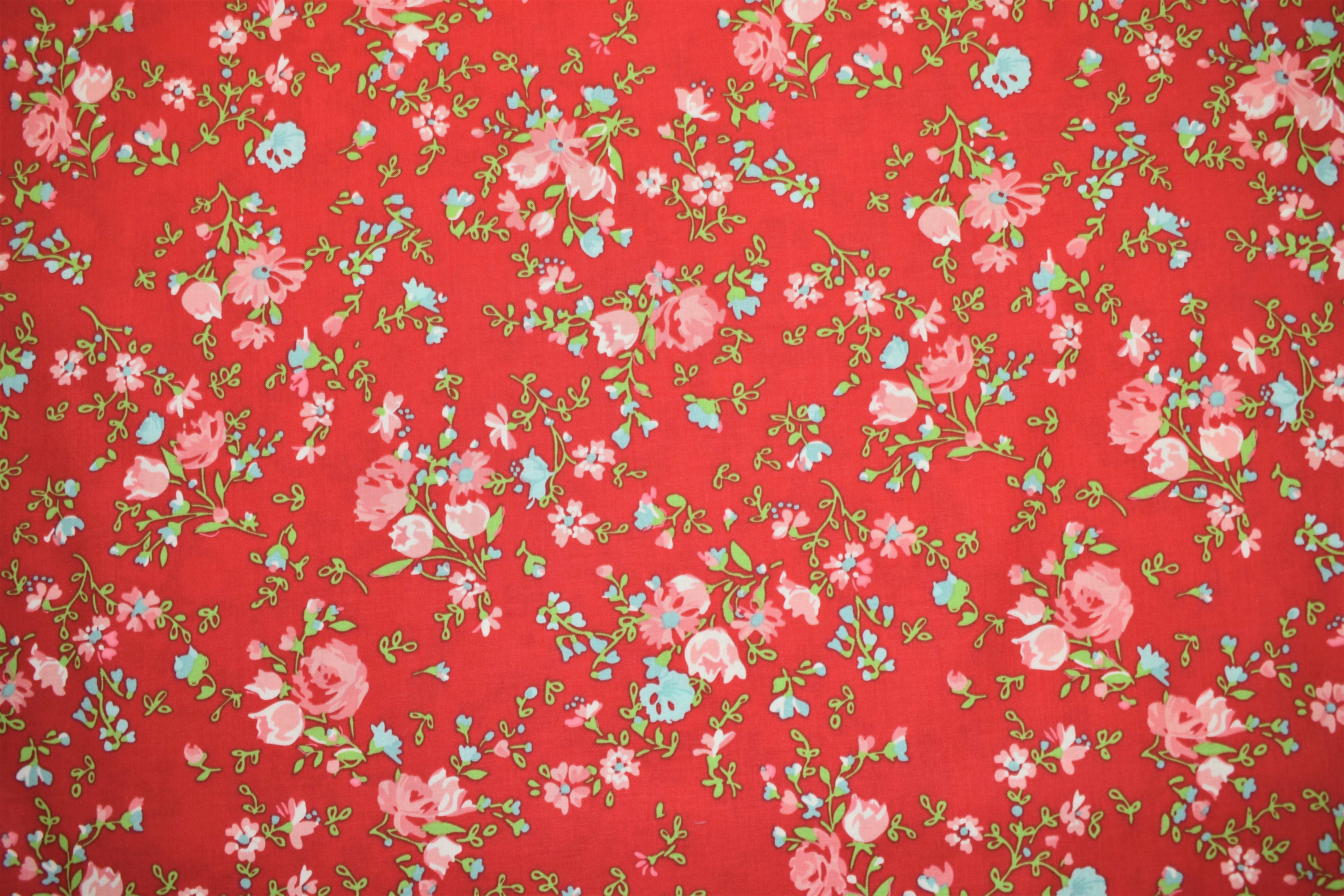 Red Background with Flowers - Elm Park - Laura Ashley CA6FK9WF