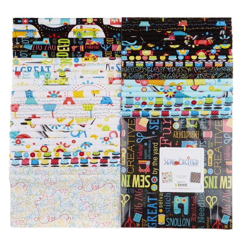 Sew Excited Layer Cake - Kanvas Fabrics S4UQU4U4