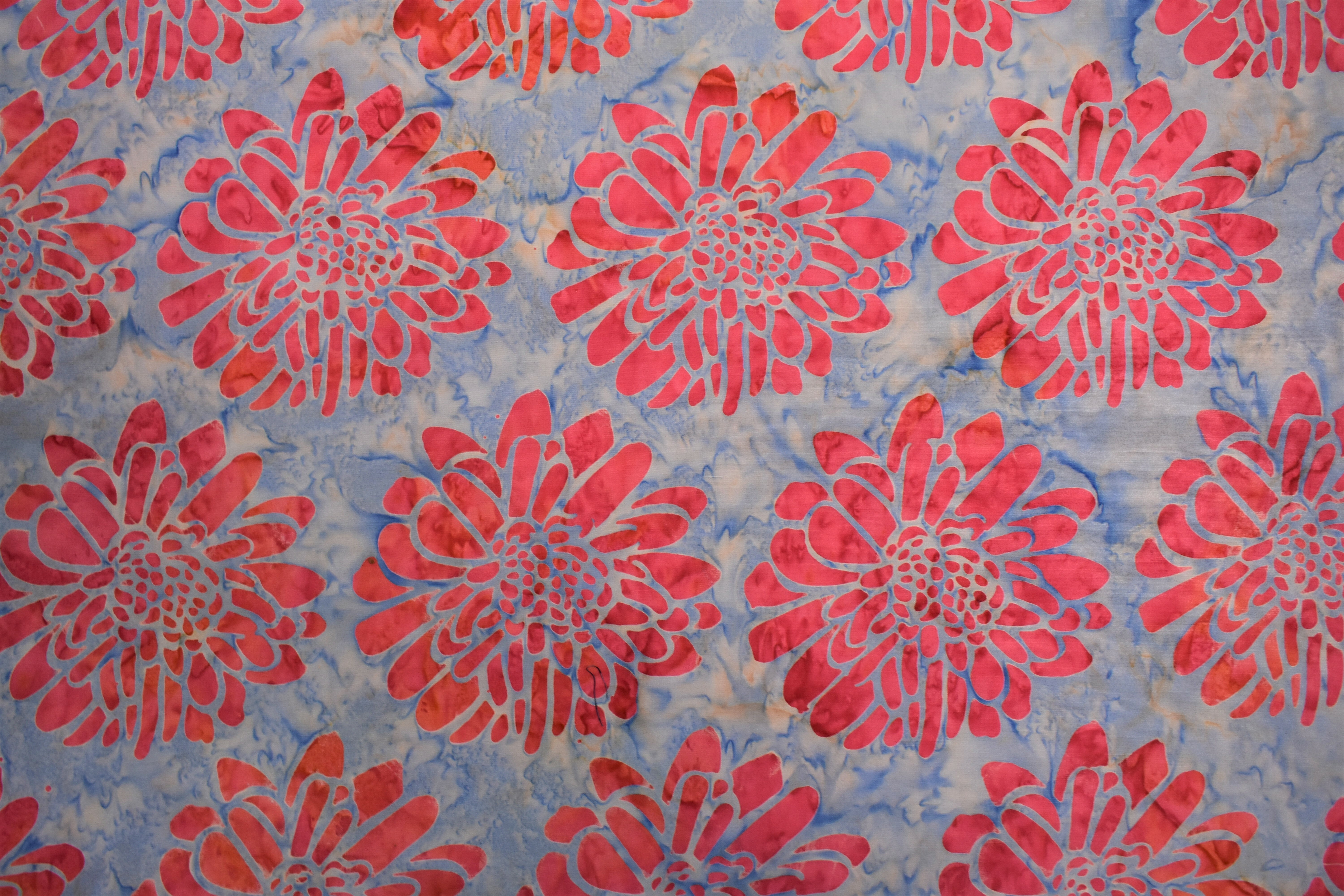 Blue with Large Pink Flowers - 1/2m cut RWRN7GPV