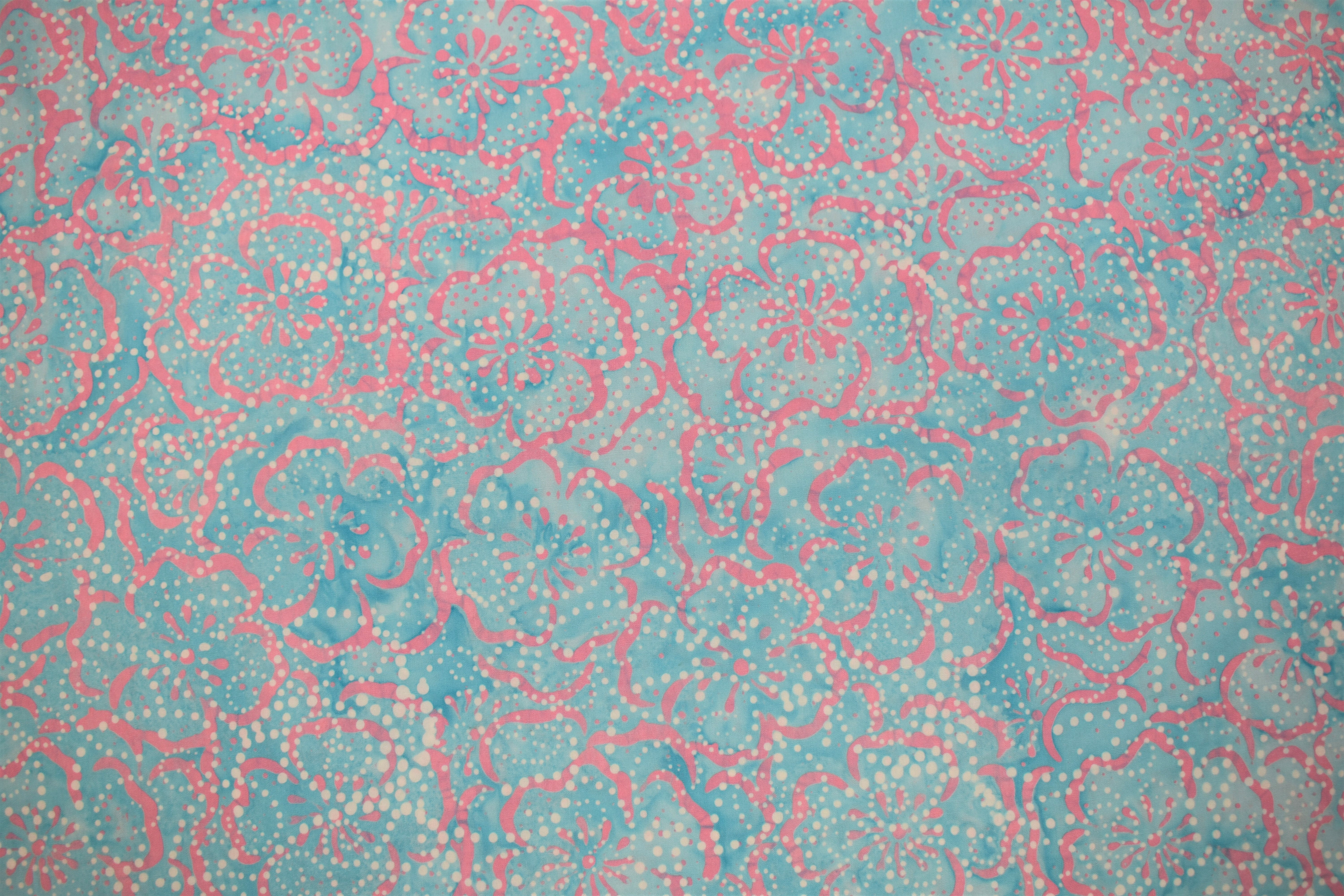 Blue & Pink Flowers - 1/2m cut C9WKWTRT
