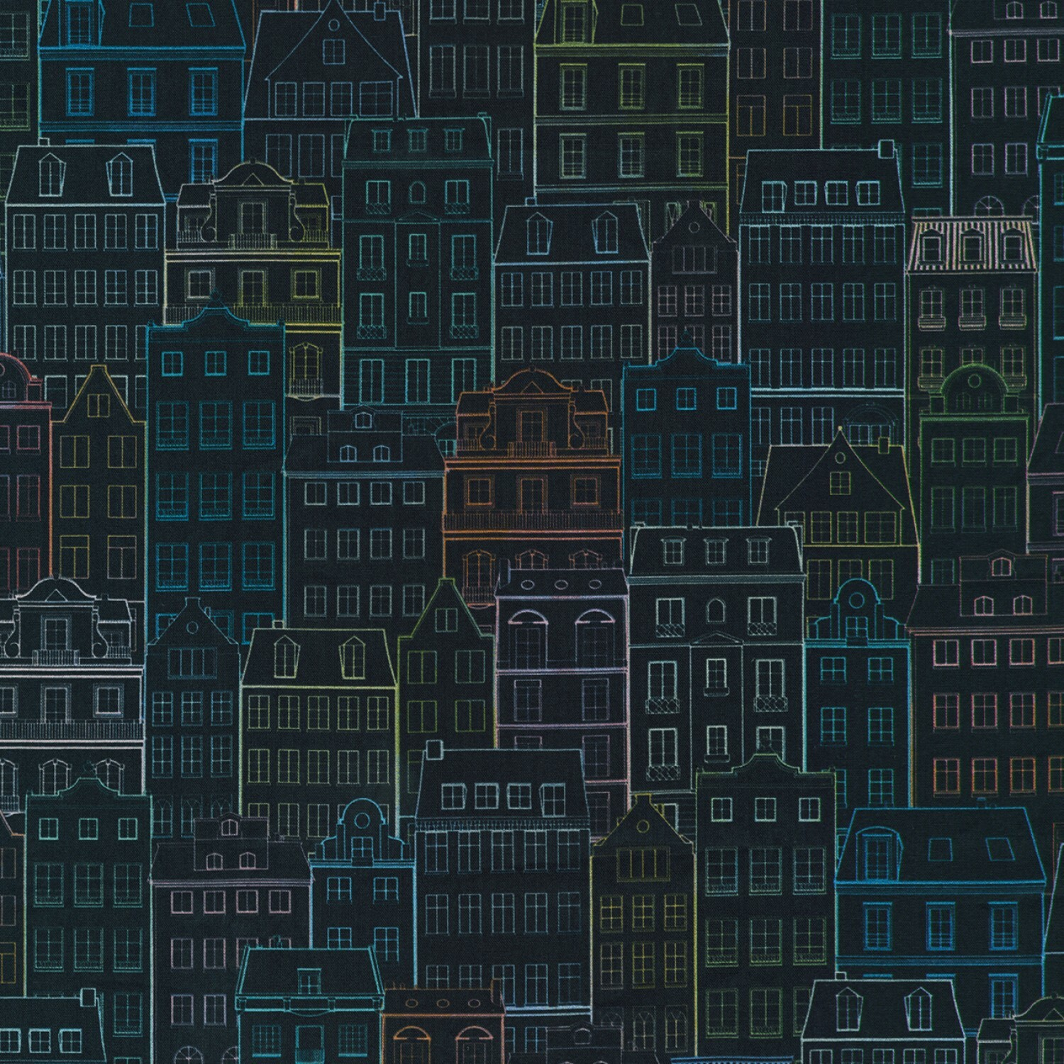 Happy Place - Night Buildings - 1/2m cut 55427