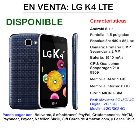 LG K4 LTE - Smartphone LGK4LTE