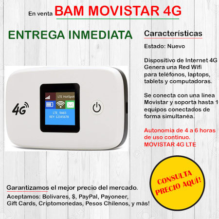 Bam Movistar 4G - Wifi Portatil HUAWEIBAMMOVI