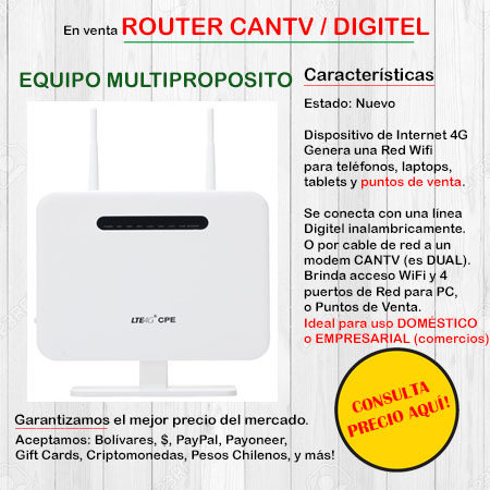 Bam Router Digitel 4G / Cantv - Equipo Multiproposito HUAWEIROUTER