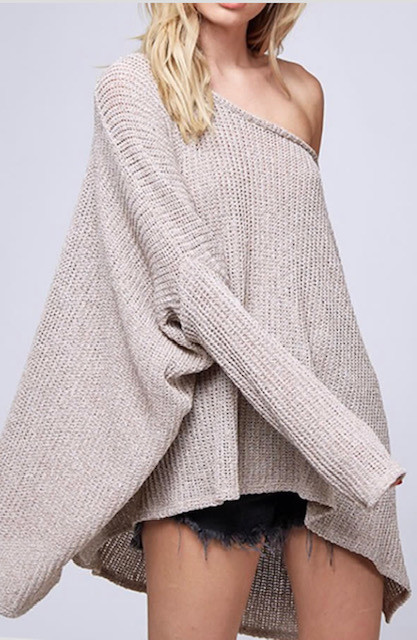 LOOSE FIT KNIT TOP OATMEAL (ONE SIZE)