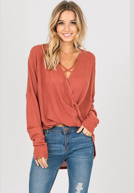 CRISS-CROSS WAFFLE TOP RUST (ONE SIZE)