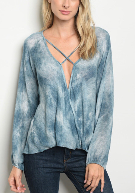 TIE DYE CRISS CROSS BLUE (LARGE )