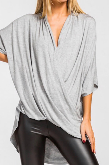 DRAPPY CROSS TOP GREY  (ONE SIZE)