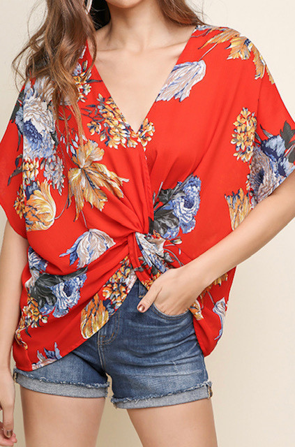 FRONT TWIST TOP RED FLOWER (ONE SIZE)
